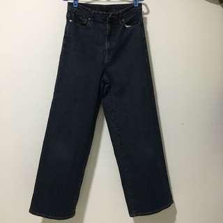 🚚 Uniqlo Navy Blue Wide Leg  Full Length Jeans