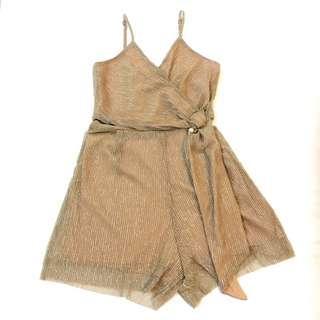 Overwrap Adjustable Strap Shimmering Gold Romper Jumpsuit Short Pant