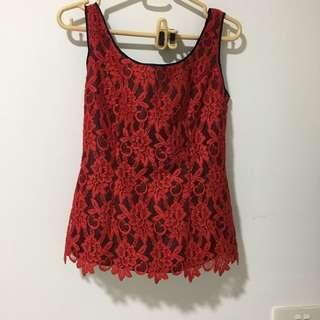 🚚 Vintage Red Lace Blouse