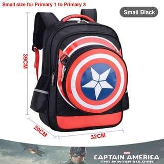 🚚 School Bag Captain America Small Black High Quality Nylon Children Boy Cartoon Detachable Backpack Mochila Masculine Cartable Enfant + Pencil box + Shield bag