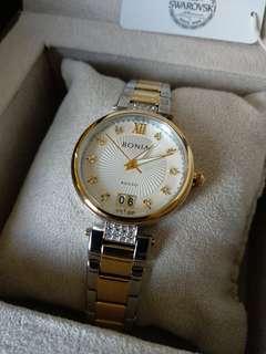 Bonia watch ladies x swarovski (never used)