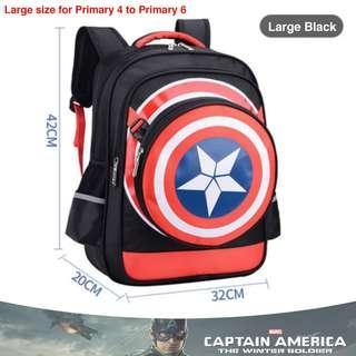 🚚 School Bag Captain America Big Black High Quality Nylon Children Boy Cartoon Detachable Backpack Mochila Masculine Cartable Enfant + Pencil box + Shield bag