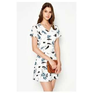 LAB Shaine Floral Cutout Flare Dress White