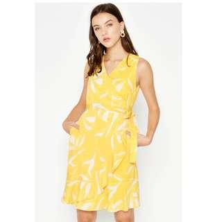 LAB Renady Floral Ruffle Wrap Dress Yellow