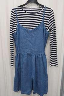 2 in 1 Korean-style Denim Dress with Long Sleeved Striped Top