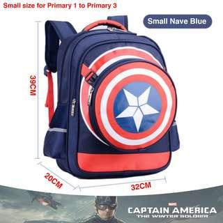 🚚 School Bag Captain America Small Navy Blue High Quality Nylon Children Boy Cartoon Detachable Backpack Mochila Masculine Cartable Enfant + Pencil box + Shield bag