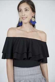 MDS Flounce Layer Top in Black