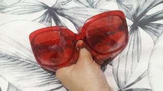 Oversized Red Fashion Sunglasses