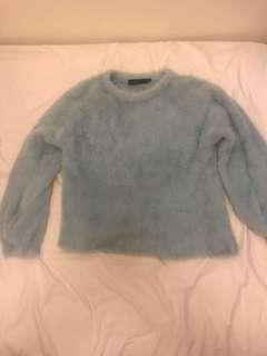 Azul by moussy baby blue flurry top 毛毛冷衫 上衣 mohair