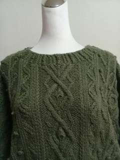 🚚 古董密麻花針織綠色毛衣上衣vintage古著