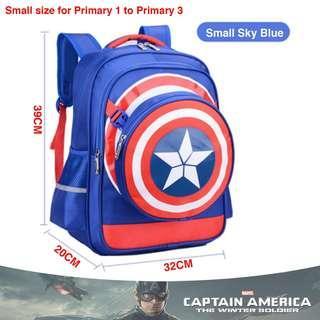 🚚 School Bag Captain America Small Blue High Quality Nylon Children Boy Cartoon Detachable Backpack Mochila Masculine Cartable Enfant + Pencil box + Shield bag