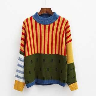 🚚 學院風可愛撞色寬鬆百搭休閒拼接針織衫毛衣