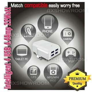 Worldwide International Adapter 4 USB charging port UK 3pin Adapter