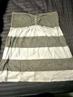 Stripe grey white tubetop