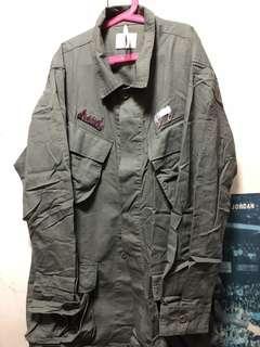 🚚 男軍綠風衣襯衫外套