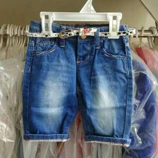 Celana anak import pant blue flower belt