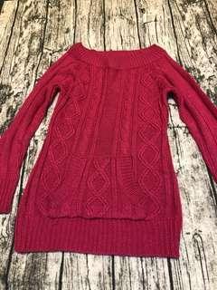 桃色毛衣上衣