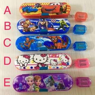 2-sided magnet pencil box with Sharpener chain