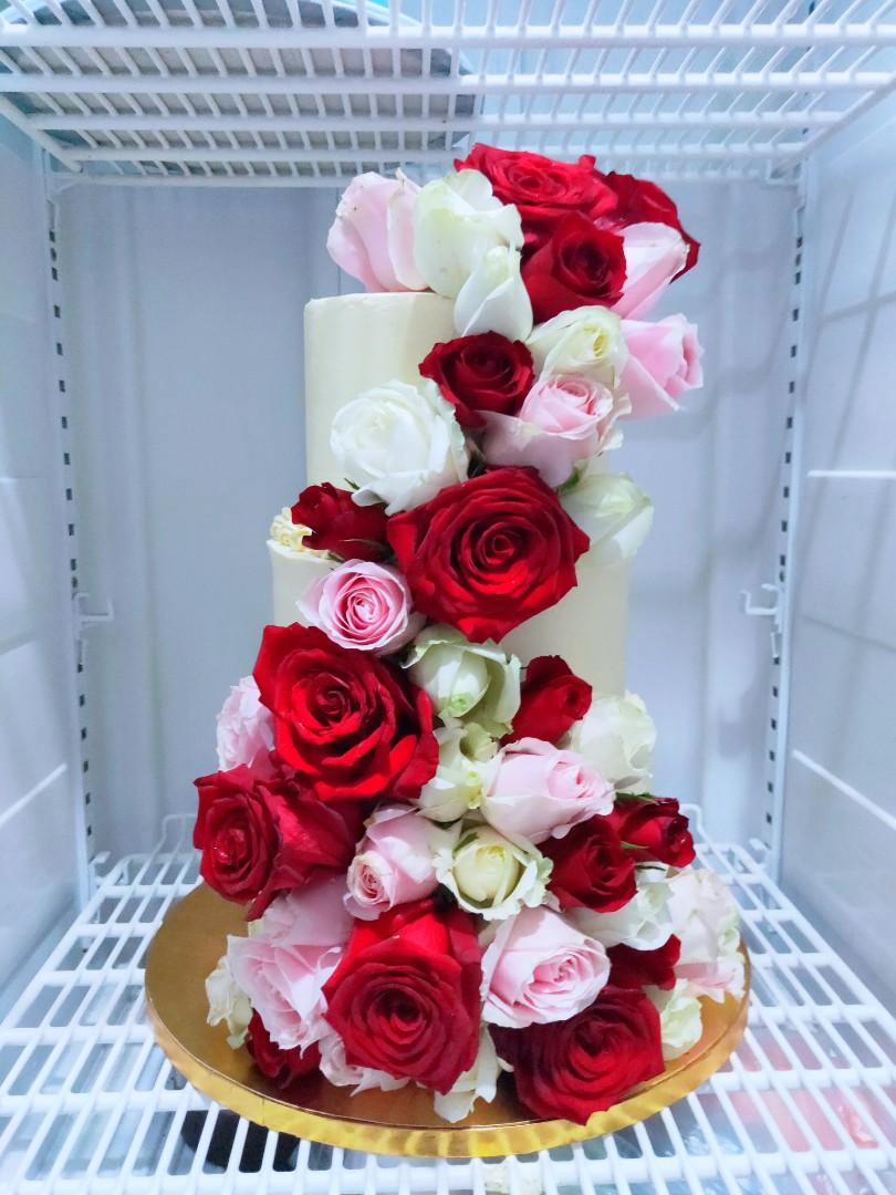 Wedding Birthday Flower Tier Cake Food Drinks Baked Goods On