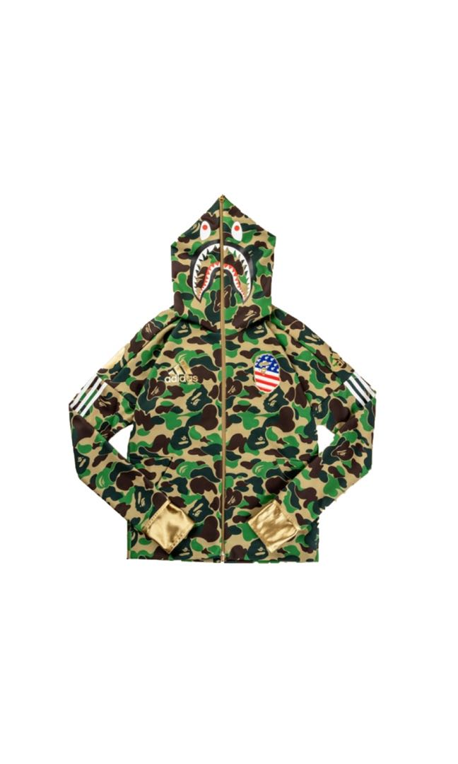 a1beb813 A Bathing Ape X Adidas Football Hoodie Green, Men's Fashion, Clothes,  Outerwear on Carousell