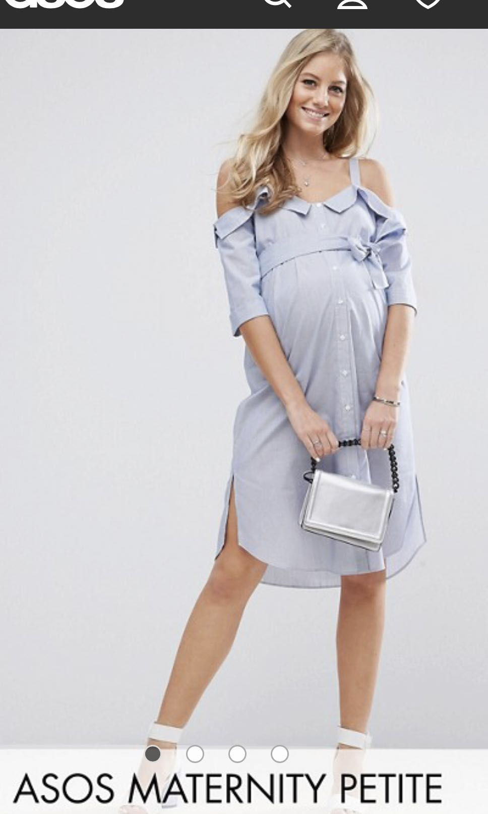 cac2305d103f7 ASOS Maternity PETITE Cold Shoulder Shirt midi dress with Foldover Detail,  Women's Fashion, Clothes, Dresses & Skirts on Carousell