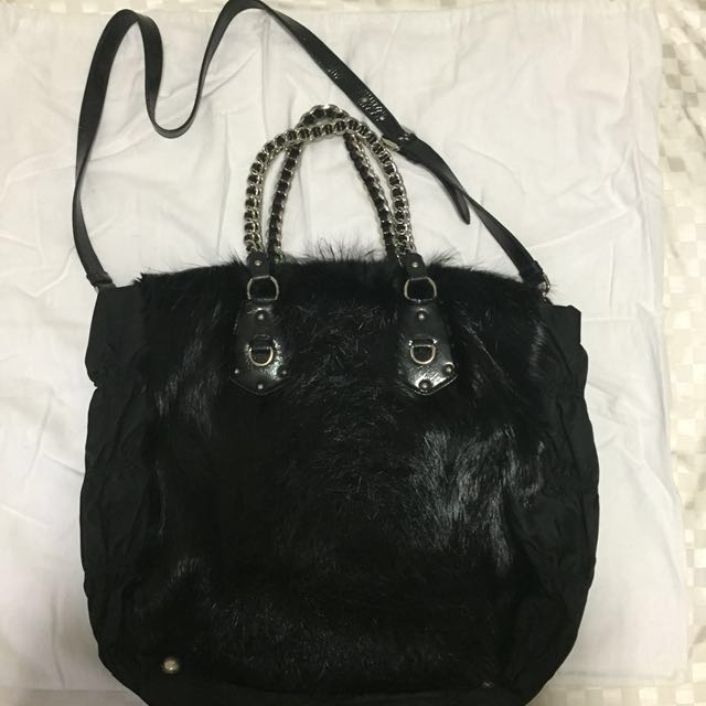 6a37f4cd1590 Auth Prada Beaver Fur Tote Bag (Black Hermes LV Vuitton YSL ...