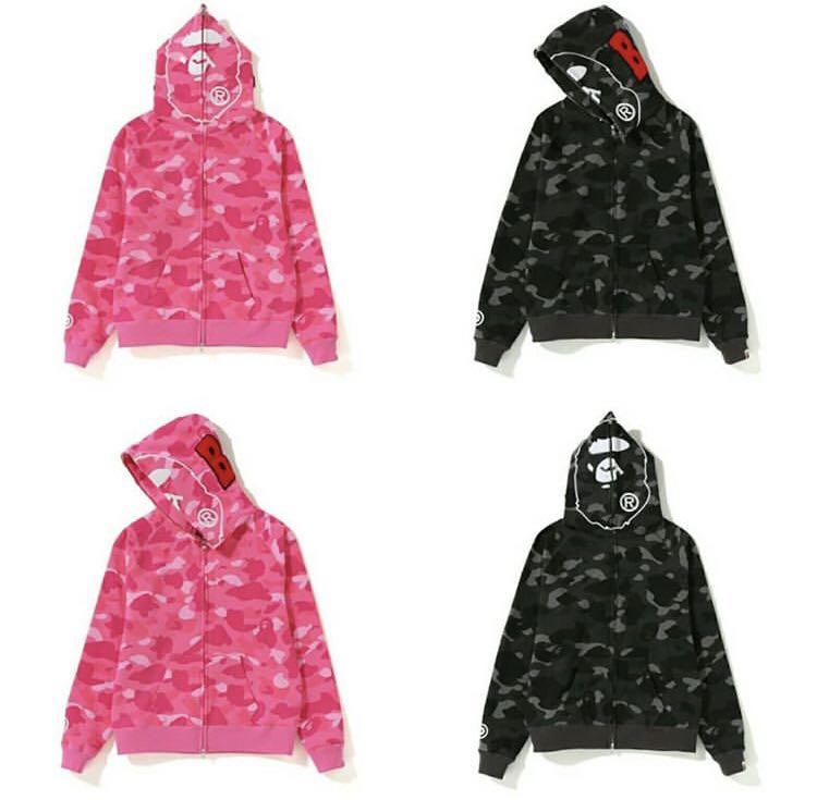 30c6b829aeec Bape ladies color camo shark full zip hoodie