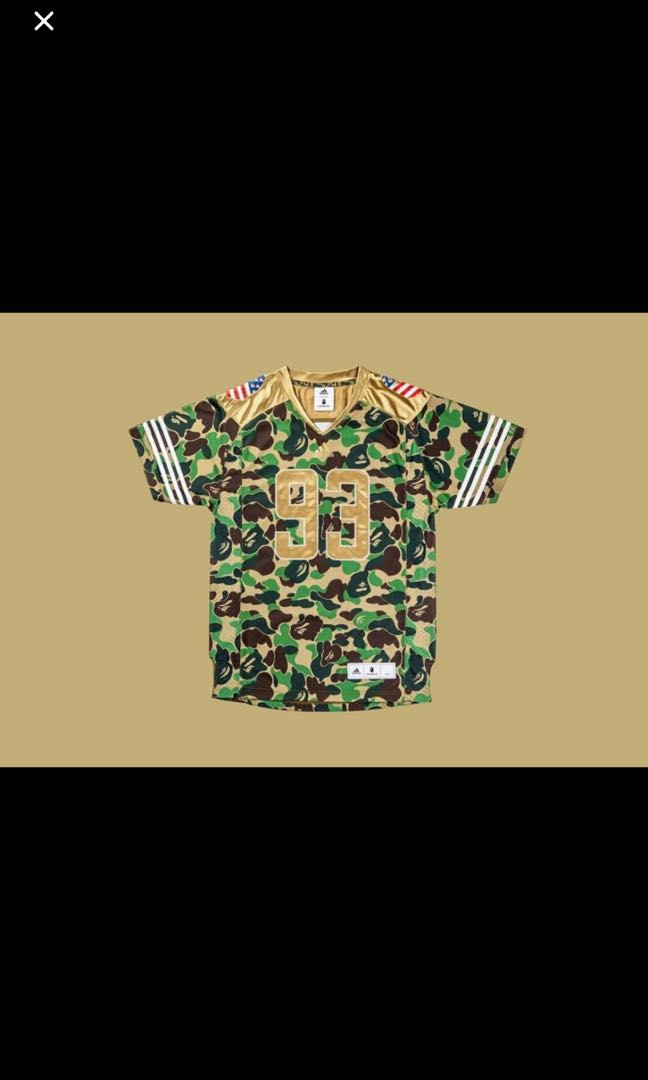 38b26de3e Bape x Adidas Football Jersey, Men's Fashion, Clothes, Tops on Carousell