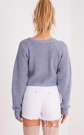 blue cropped jumper