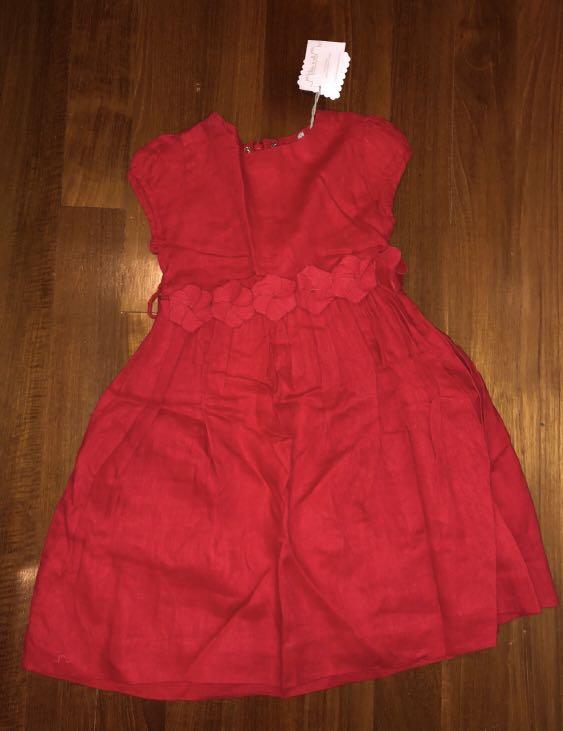 659e900ee79 BN Chateau de sable Red Dress w floral belt 4Y