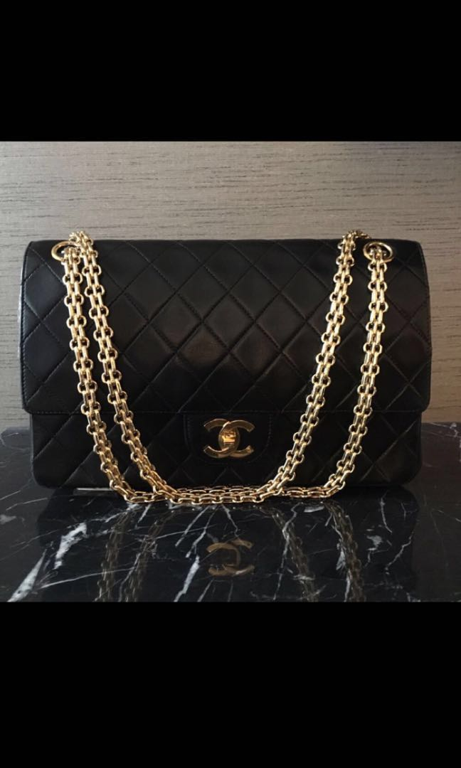 1648df5dece9c9 Chanel Vintage Lambskin Double Flap w Mademoiselle Chain, Luxury ...