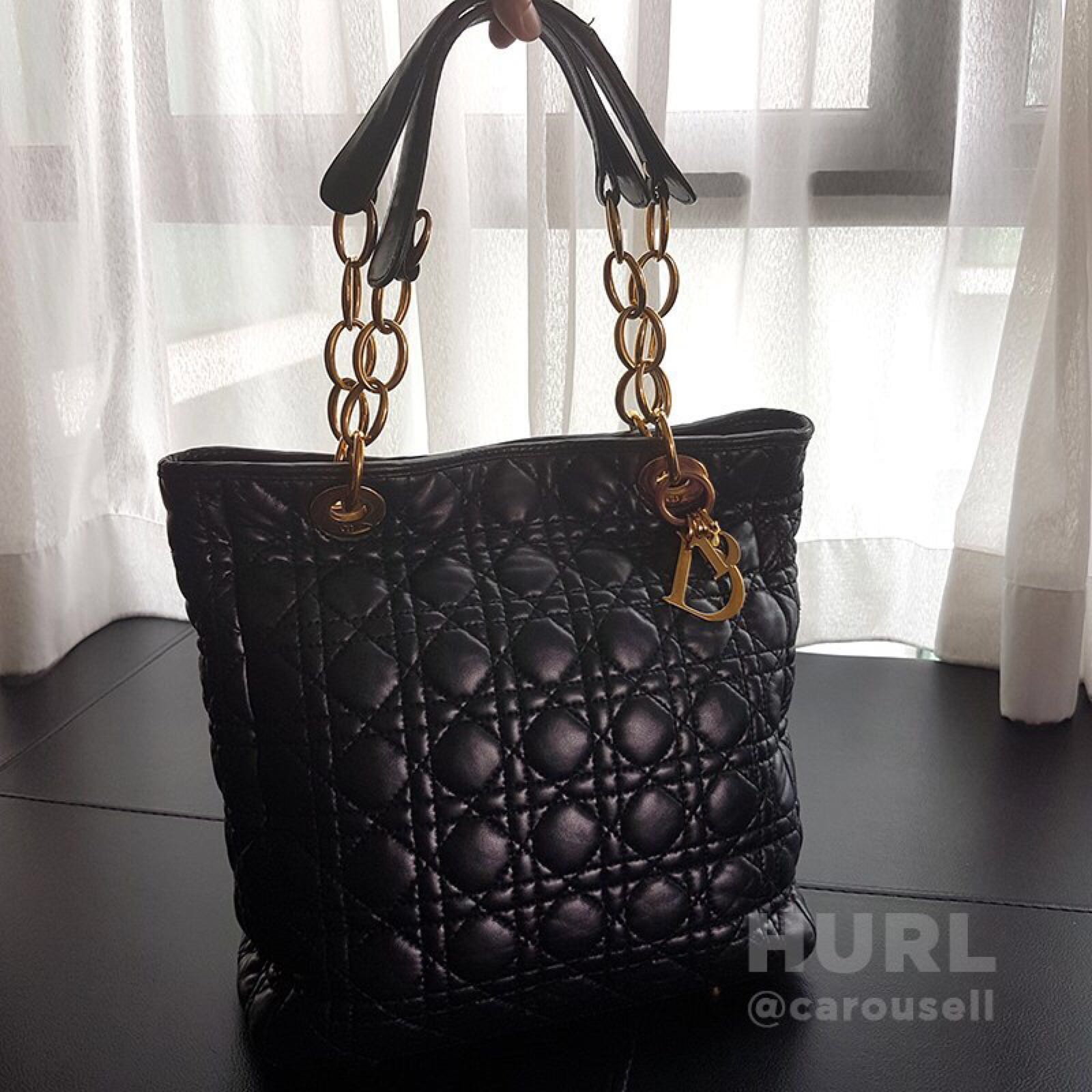 ec9f83643704 Christian Dior Black Cannage Quilted Lambskin Leather Soft Tote Bag ...