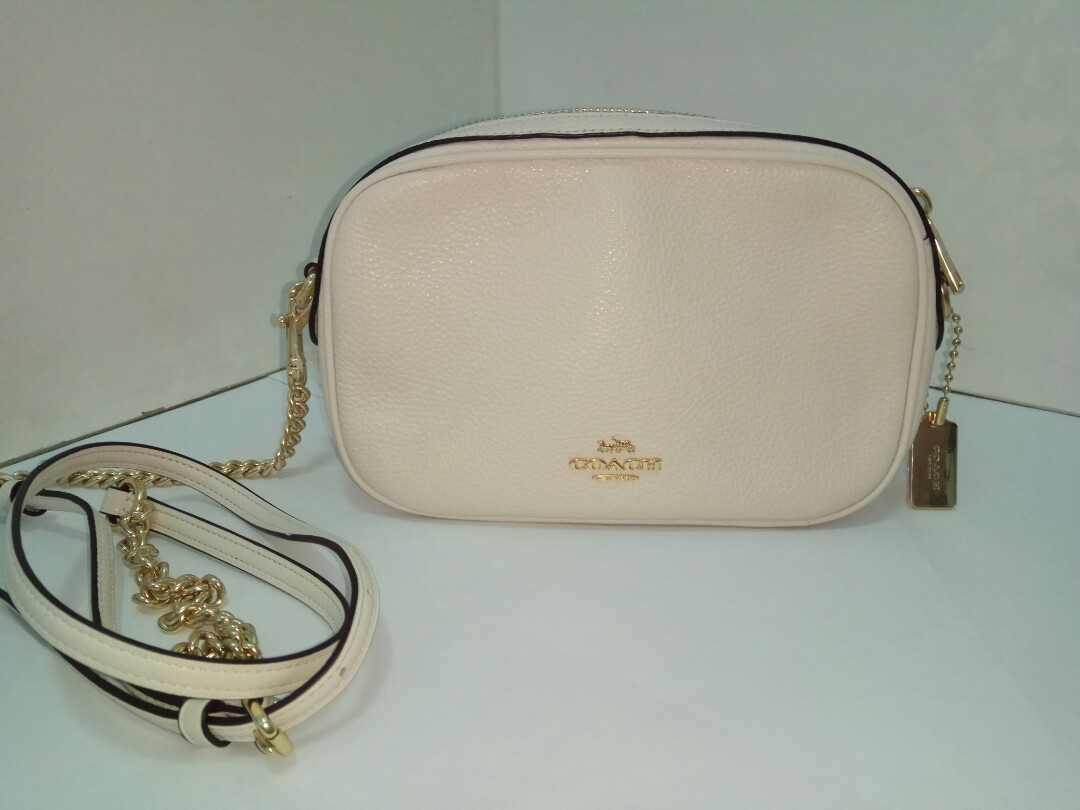 Coach Genuine Leather Sling Bag with Gold Chain in colour Chalk ... c64b9b87e61a8
