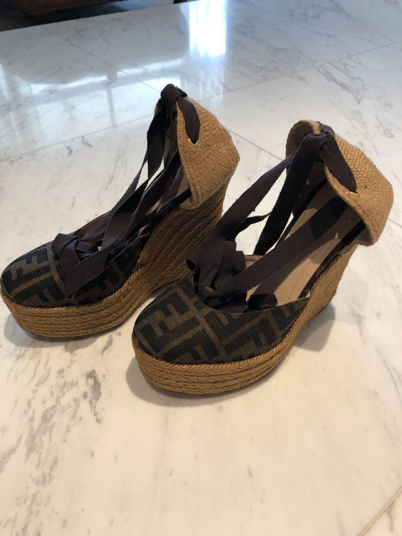 super cheap huge inventory new images of Fendi FF Wedges shoes, Women's Fashion, Shoes, Heels on Carousell