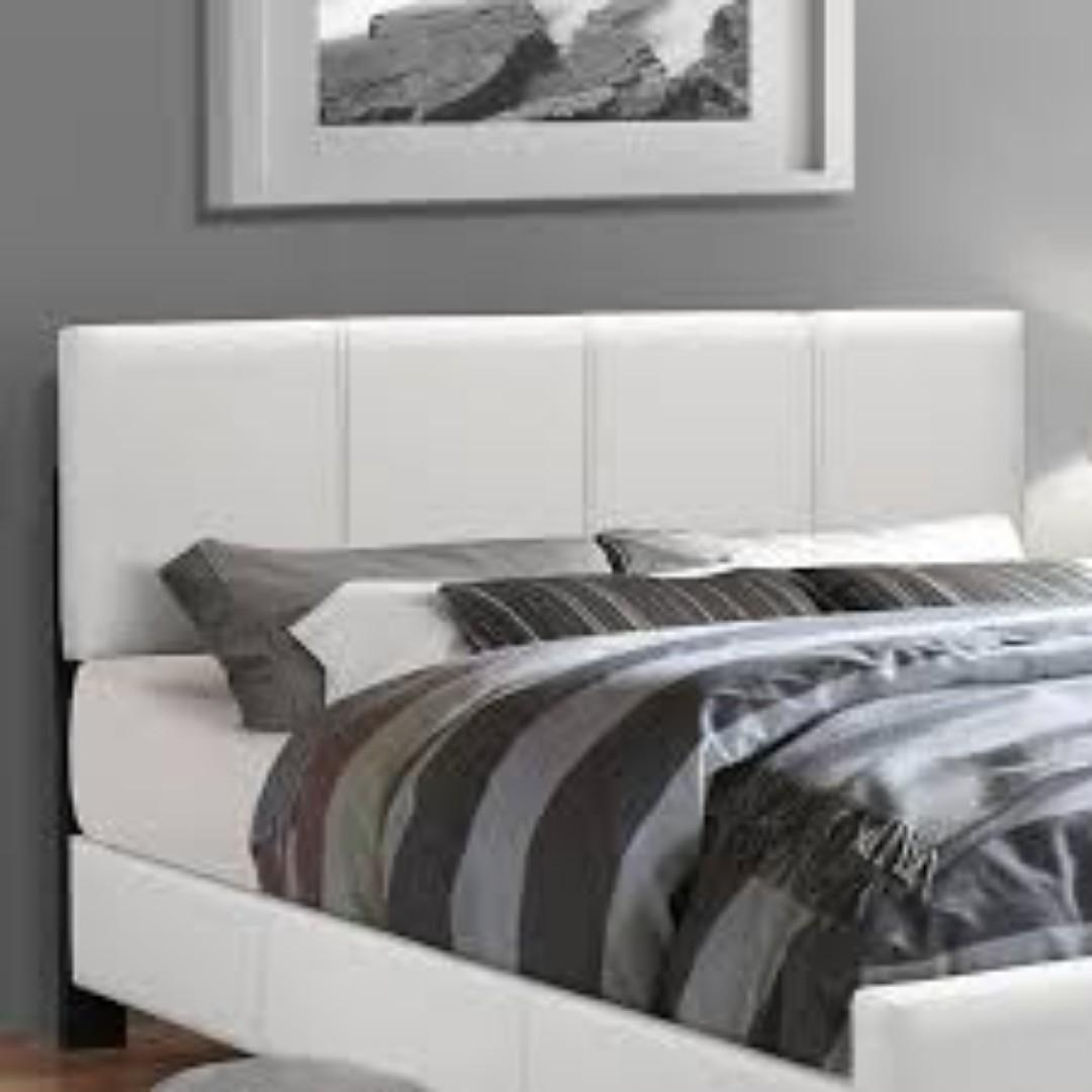 Free Delivery and Assembly - Brand New from Manufacturer -Posh Design - WHITE FAUX LEATHER PLATFORM BED