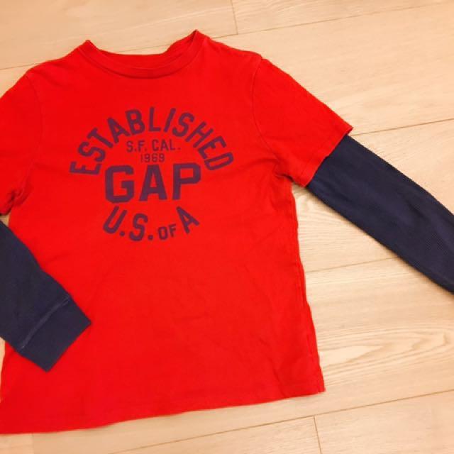 Gap  正品大童棒球棉T 10號  紅藍 380元