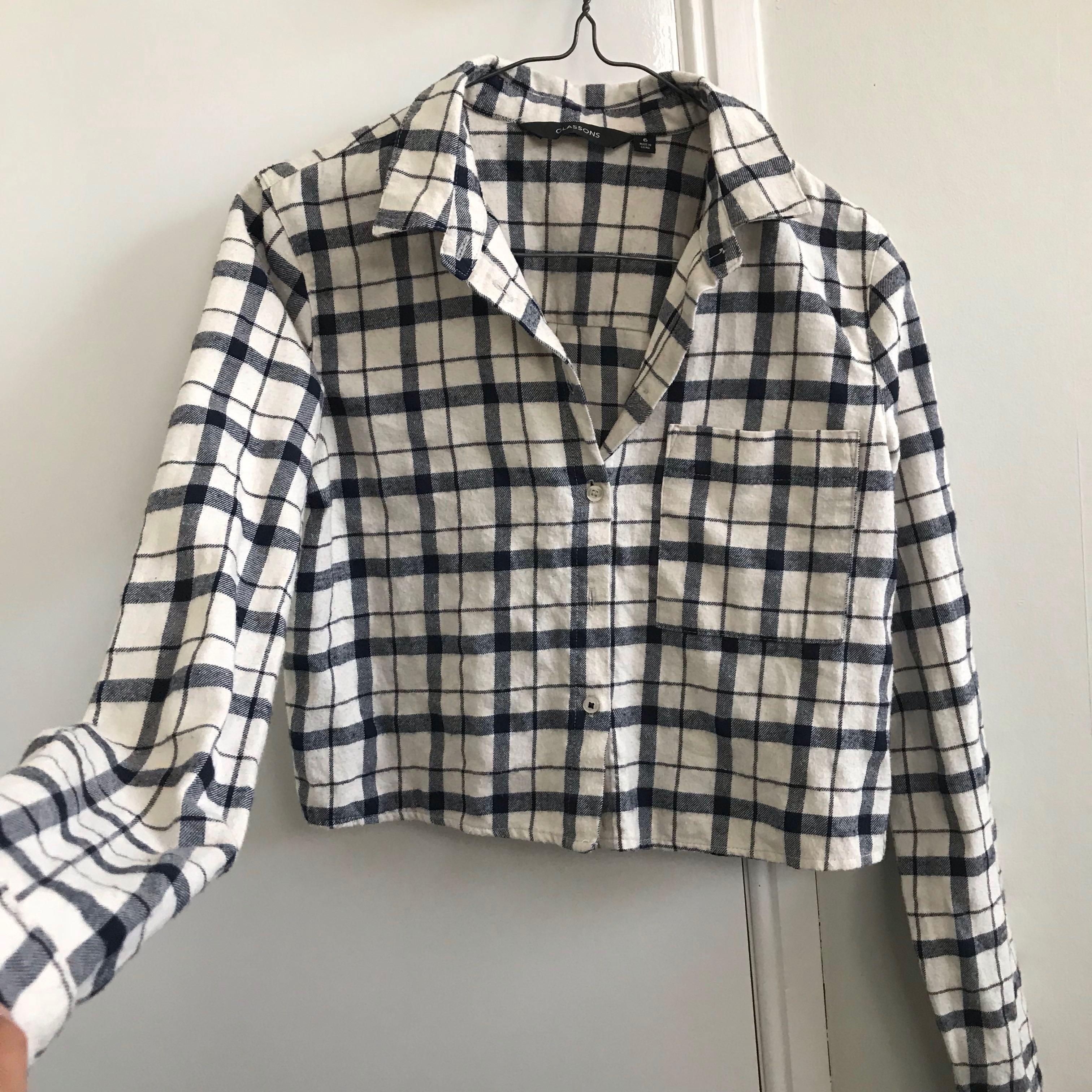 Glassons Plaid button up Top