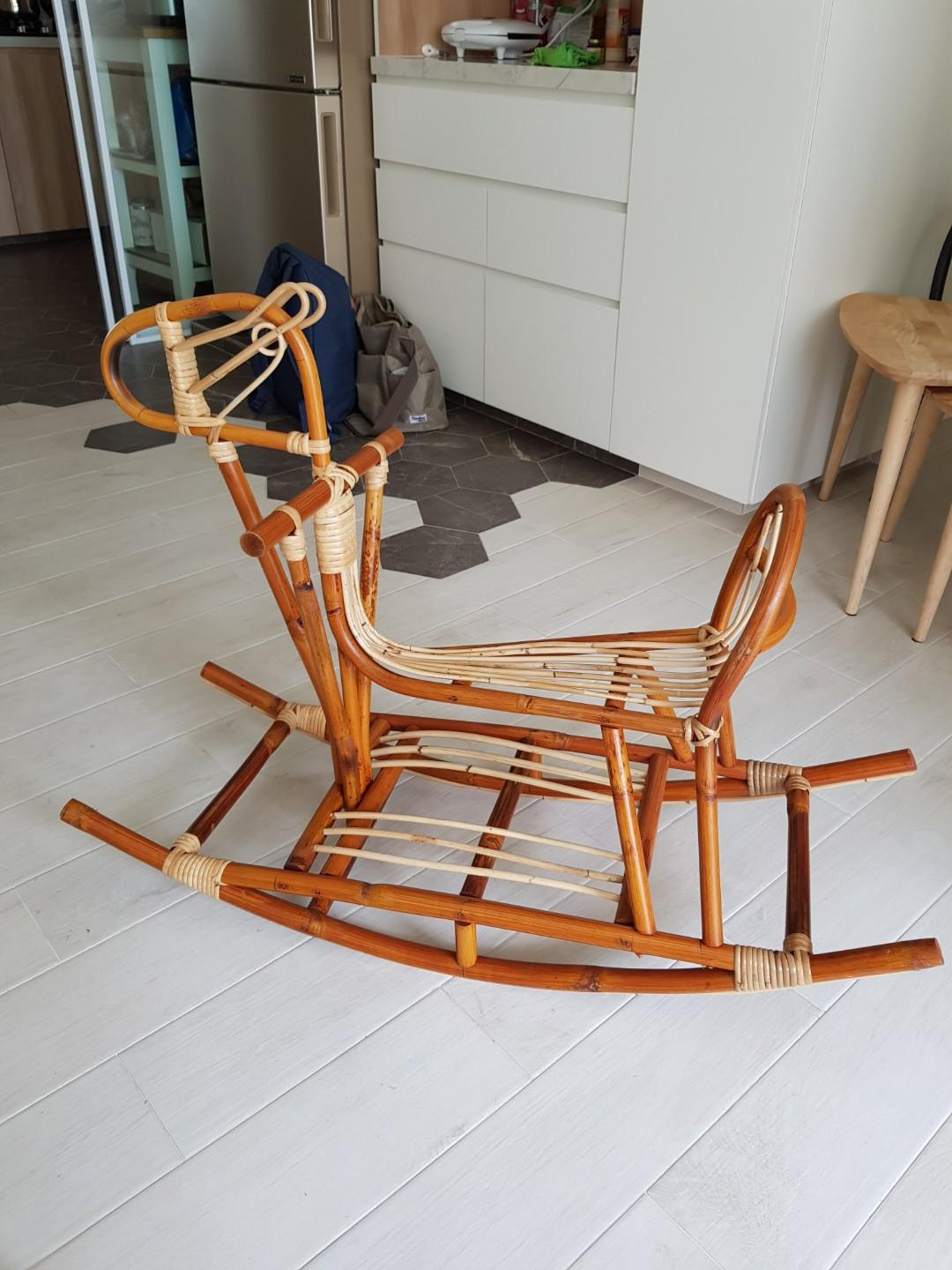 Handcrafted Rattan Rocking Horse Babies Kids Toys Walkers On Carousell