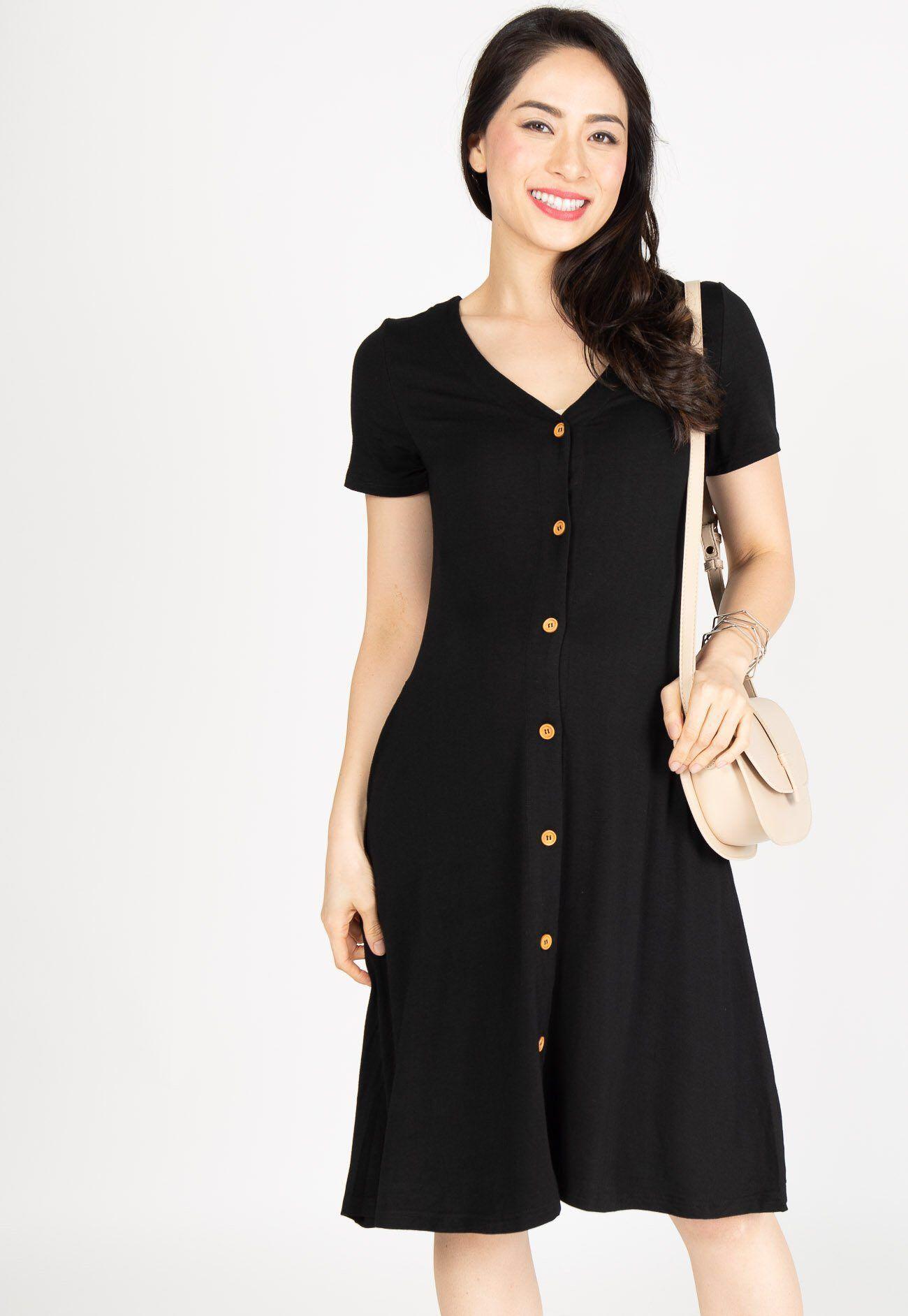 f6e38122a7 JEC - Lilith Button Nursing Dress in Black