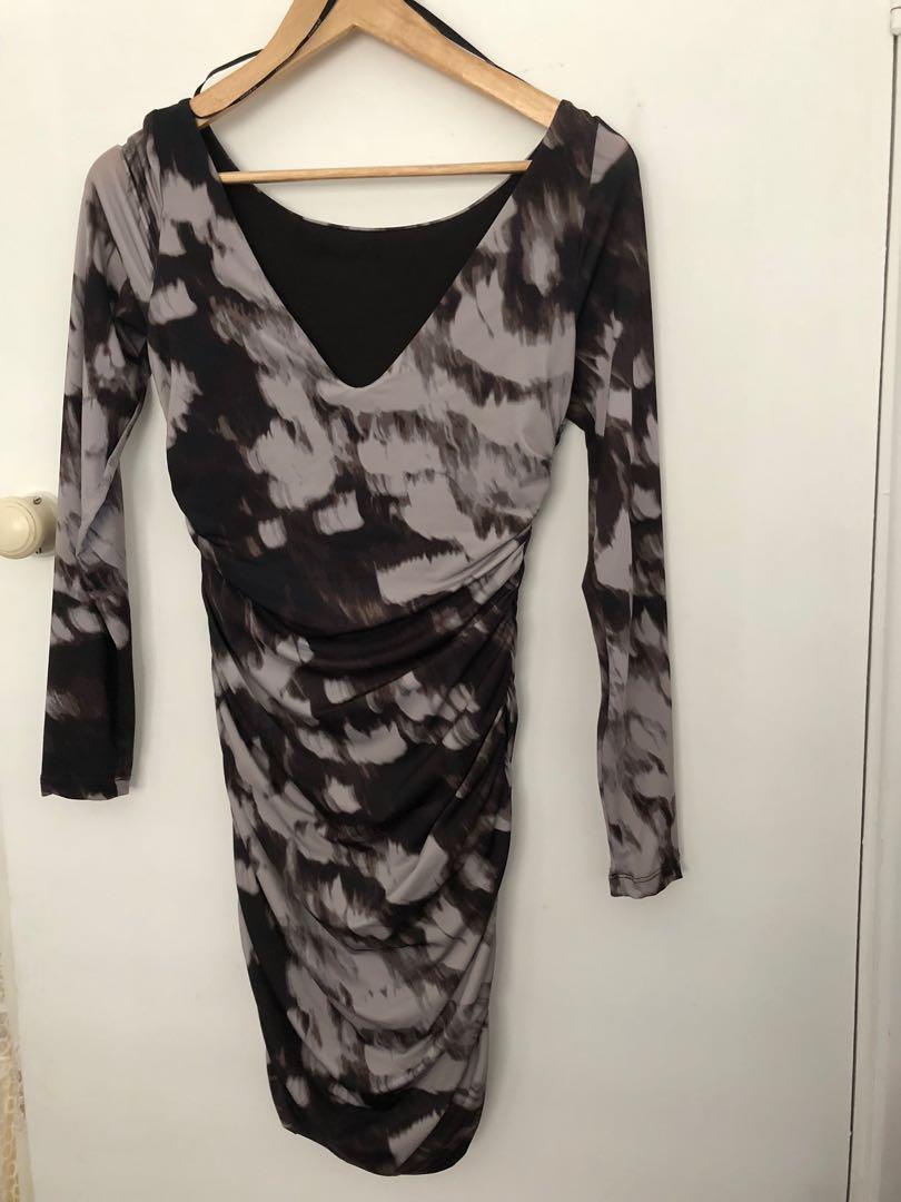 Kookai LBD size 2 black grey Bodycon stretch long sleeve low back
