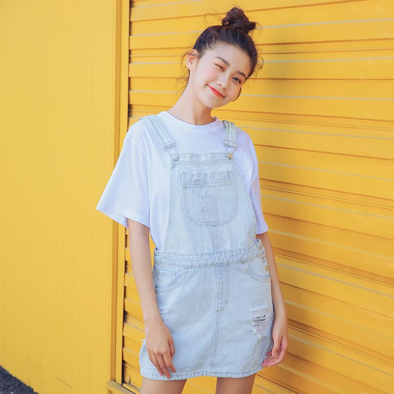 ee244a57d14 Light Blue Washed Denim Bib Designed Ripped Overall Pinafore Dress ...