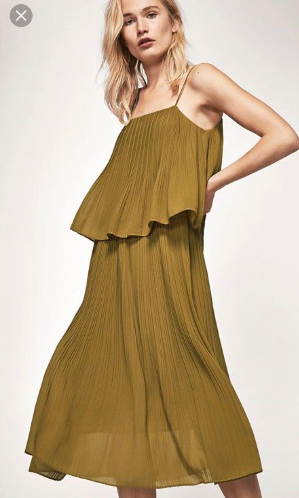 183b19b5184c Massimo Dutti Olive Pleated Dress S US6