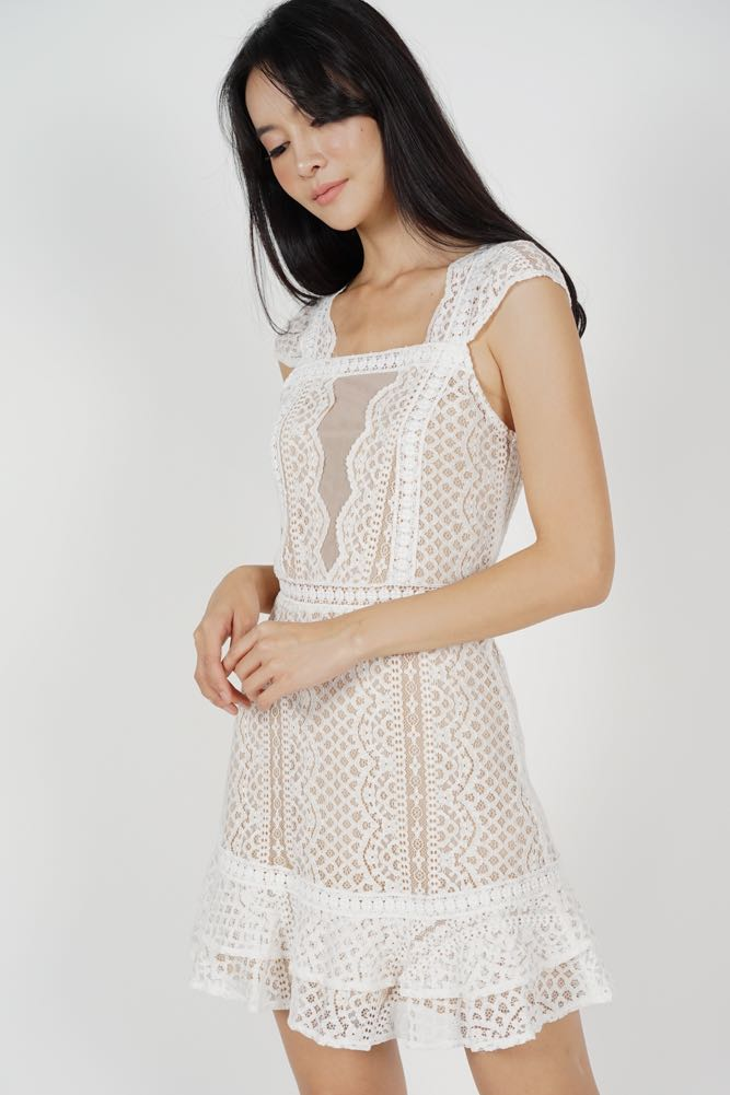 74b92b9162b5a MDS Lace Mesh Dress in White, Women's Fashion, Clothes, Dresses ...