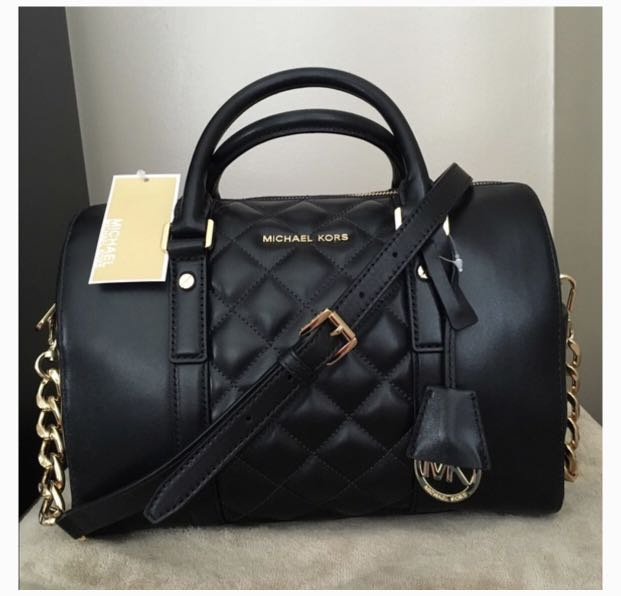 fa056a8aef92 Michael Kors Grayson Quilted Satchel in Medium (Black)