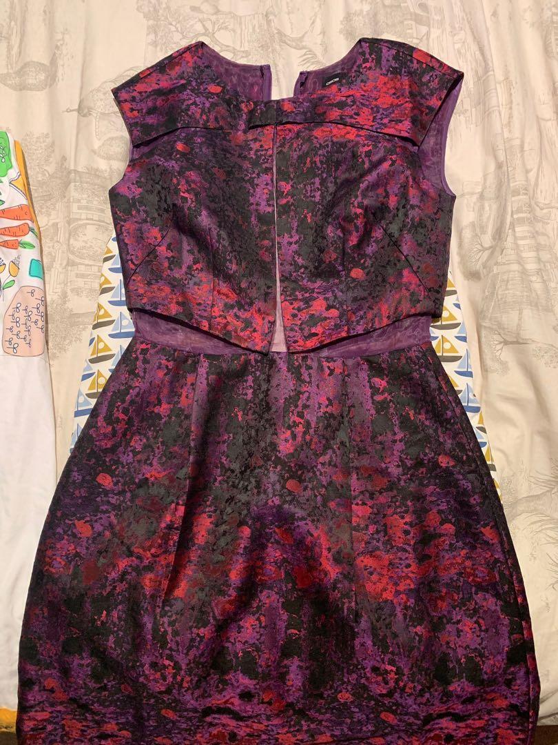 New ASOS Jacquard Cut out Cocktail Dress Violet Purple $89
