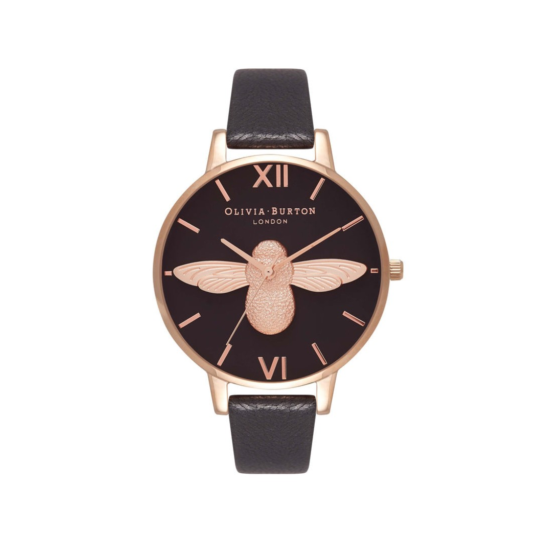 8247afb1c Olivia Burton (OB) London 3D Bee Black Dial & Rose Gold Watch 38 mm ...