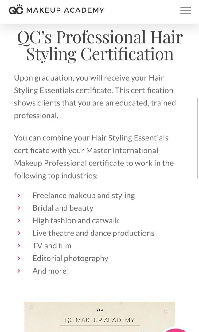 QC Academy - Hairstyling Course (Online)