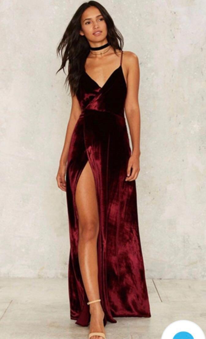 Red Velvet Maxi Formal Dress