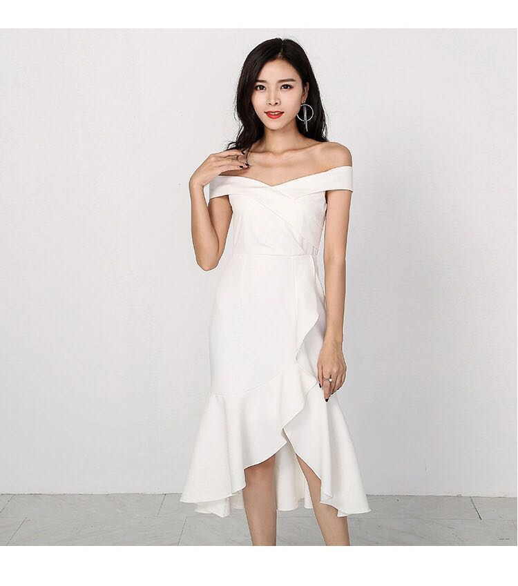 db41d8549b4 Ruffles midi dress in white (suitable for wedding)