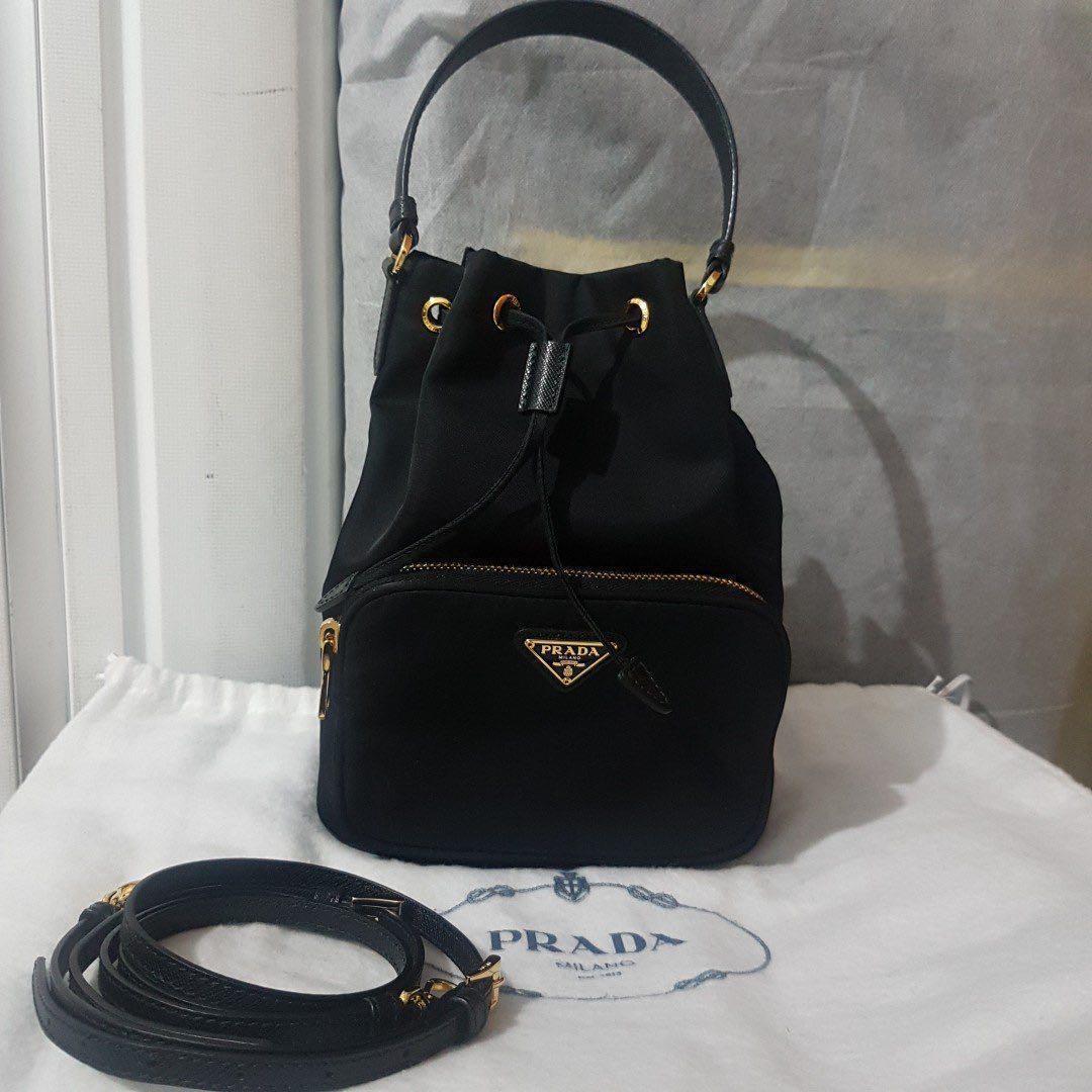 8d09207e1522 💢SALE 💢 Prada Vela Nero Bucket with strap : many styles to wear ...